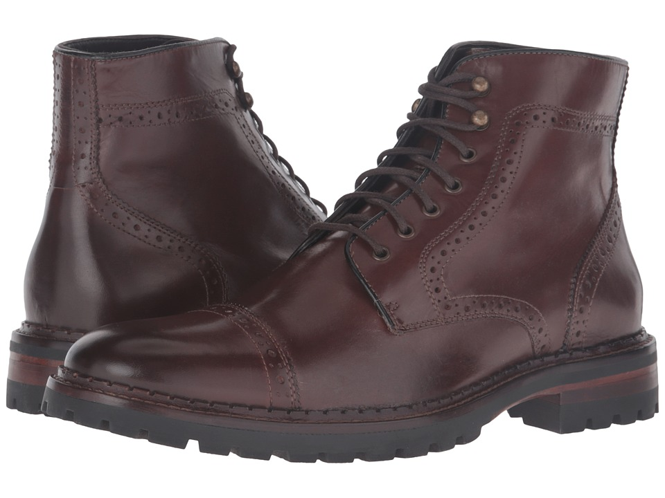 Johnston & Murphy Jennings Cap Toe Boot (Mahogany Calfskin) Men