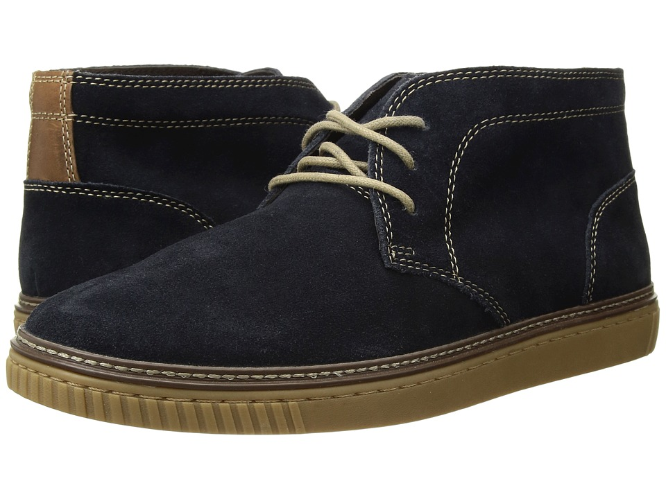 Johnston & Murphy - Wallace Chukka (Navy Water Resistant Suede) Men's Lace Up Moc Toe Shoes