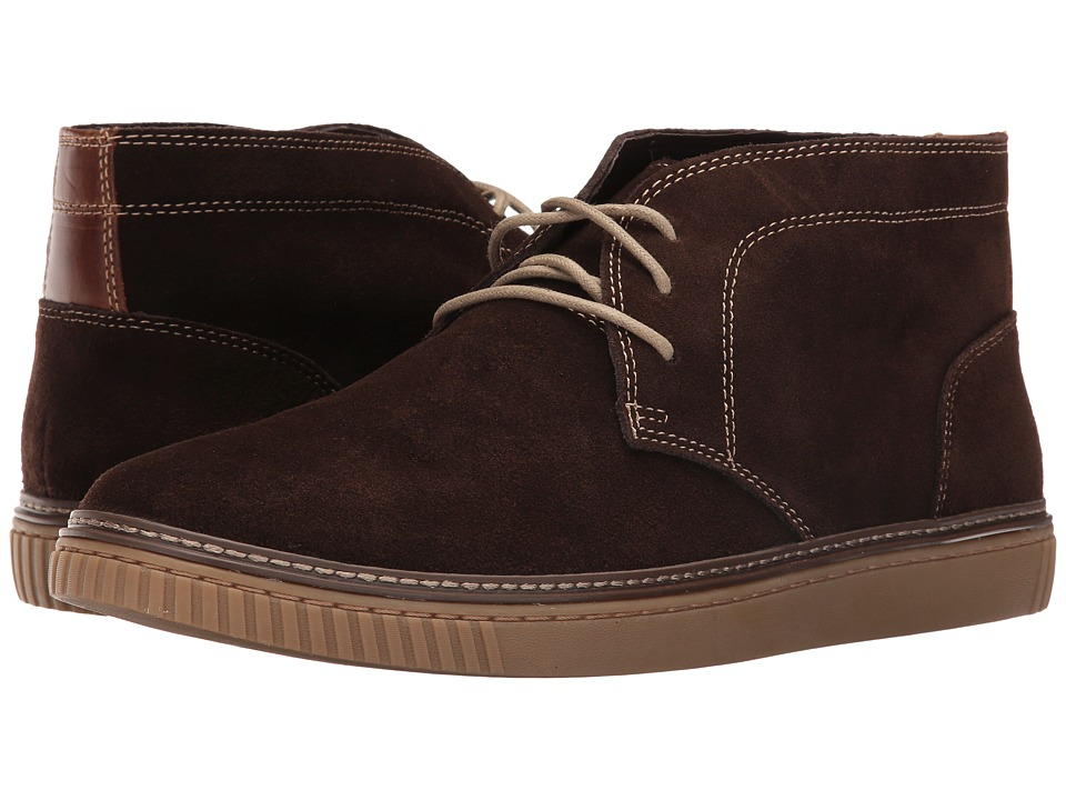 Johnston & Murphy - Wallace Chukka (Dark Brown Water Resistant Suede) Men's Lace Up Moc Toe Shoes