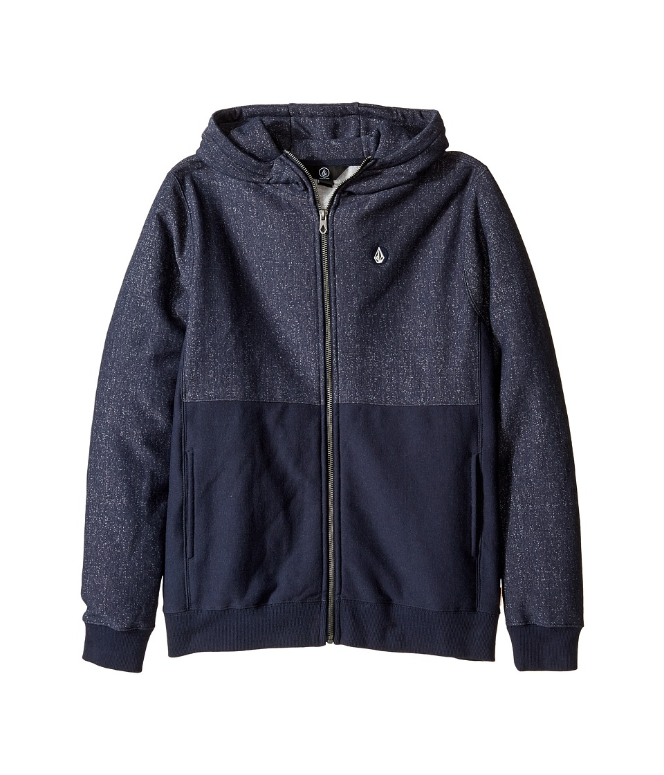 Volcom Kids - Static Stone Zip (Big Kids) (Navy) Boy's Sweatshirt