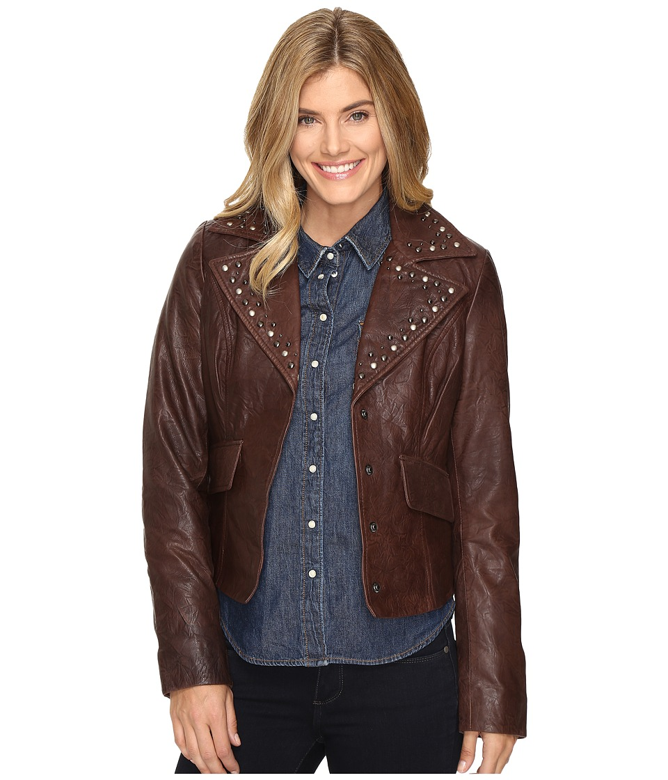 Stetson - Crinkled Leather Jacket w/ Nailheads (Brown) Women's Coat