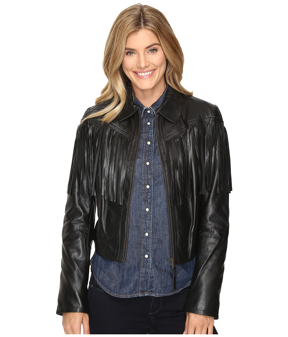 Stetson - Fringed Leather Jacket (Black) Women's Coat