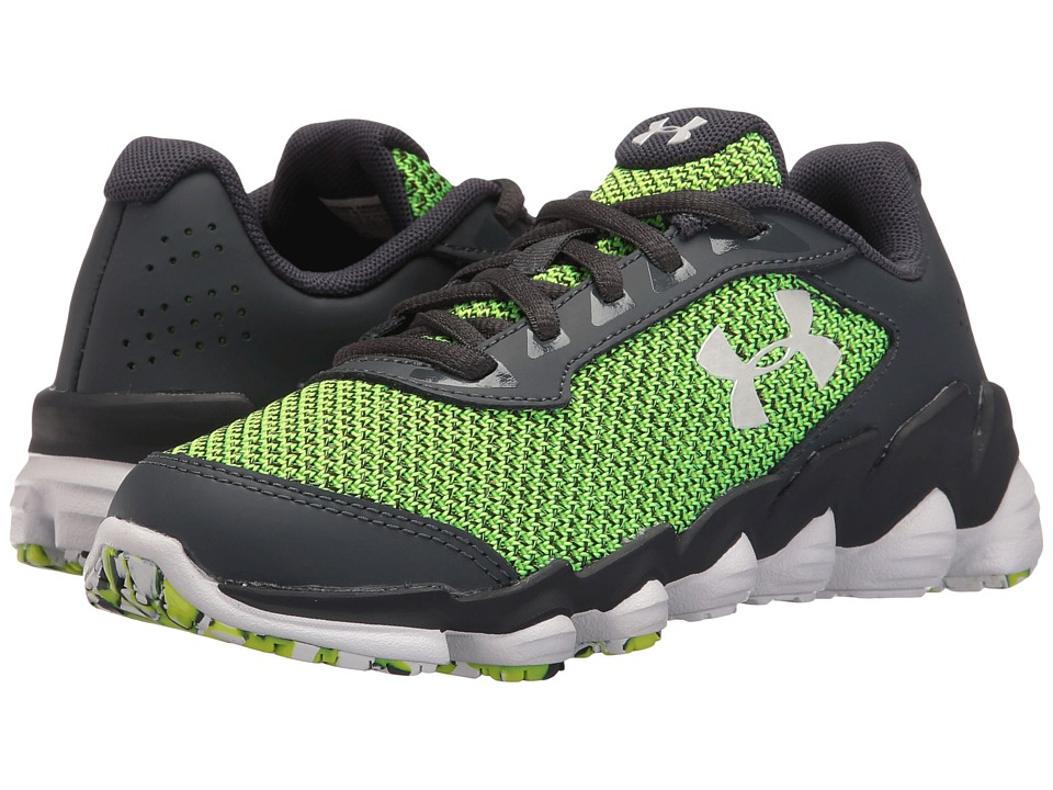 Under Armour Kids - UA BPS Spine Disrupt TCK (Little Kid) (Stealth Grey/High-Vis Yellow/White) Boys Shoes