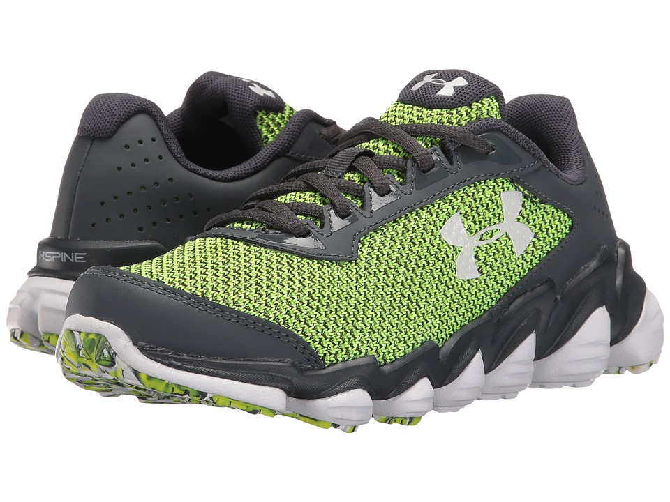 Under Armour Kids - UA BGS Spine Disrupt TCK (Big Kid) (Stealth Grey/High-Vis Yellow/White) Boys Shoes
