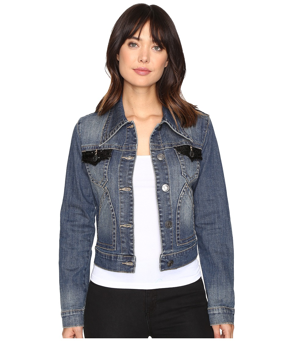 Stetson - Shrunken Denim Jacket w/ Sequin Fabric (Blue) Women's Coat