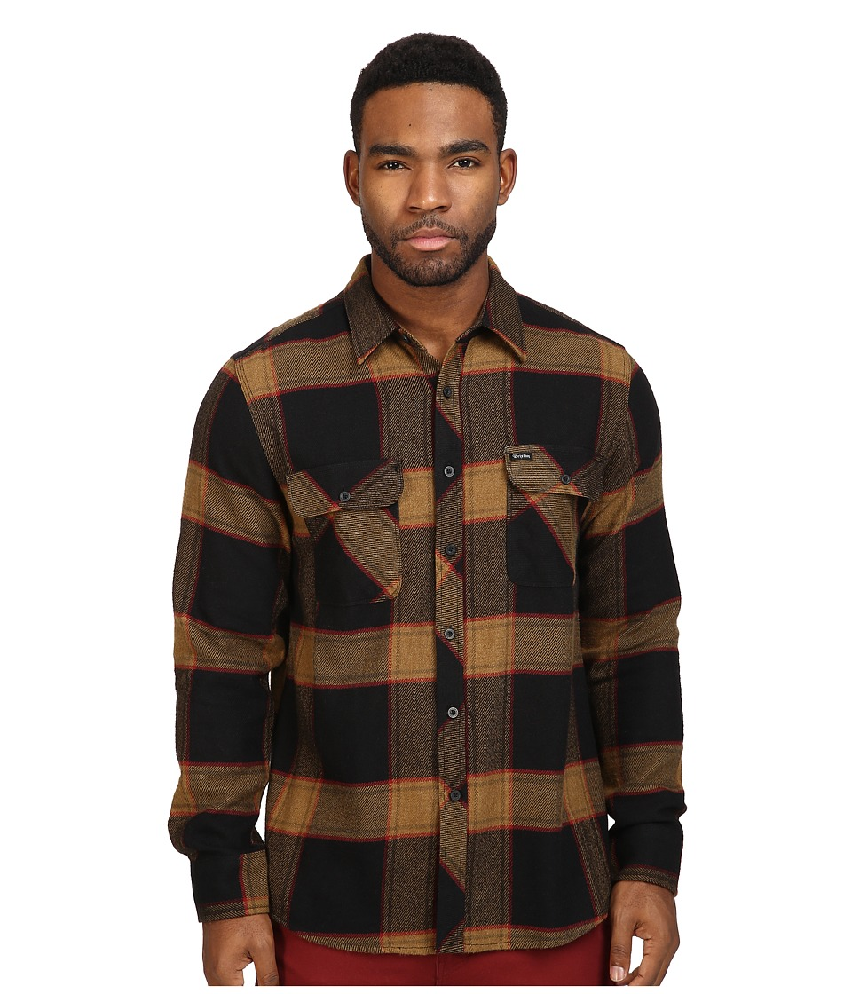 Brixton - Bowery Long Sleeve Flannel (Black/Gold) Men's Long Sleeve Button Up