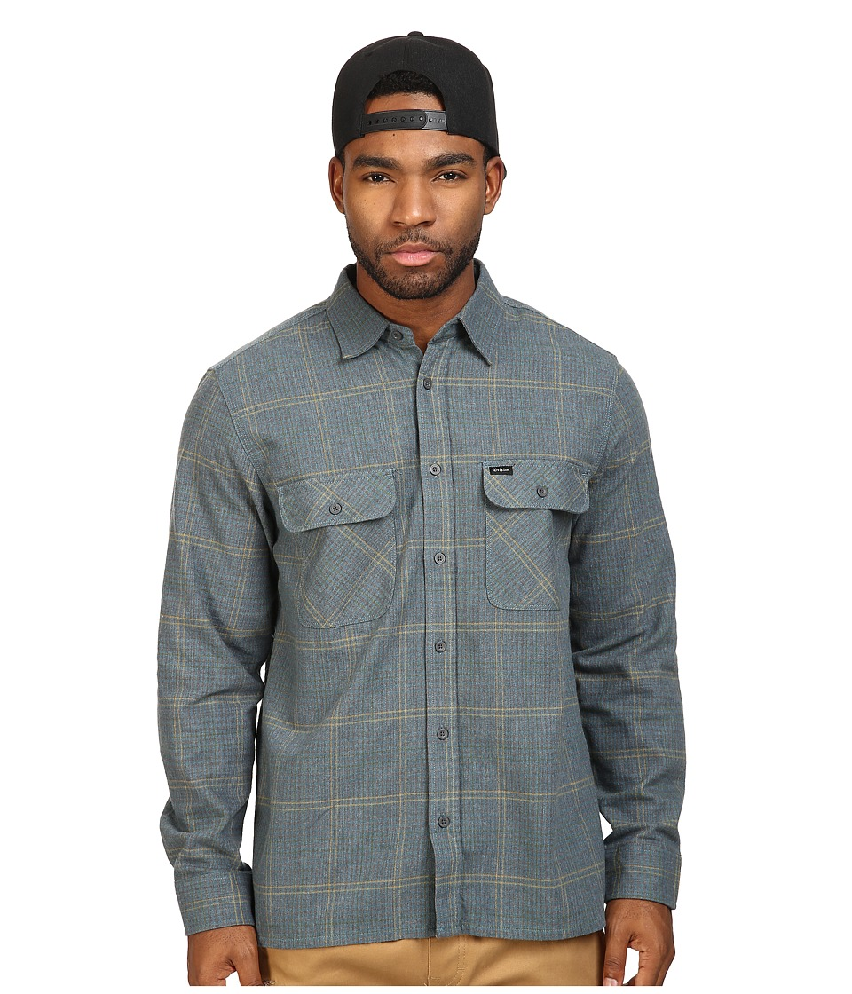 Brixton - Archie Long Sleeve Flannel (Green/Grey) Men's Long Sleeve Button Up