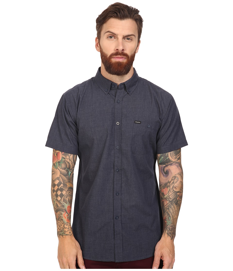 Brixton - Central Short Sleeve Woven (Heather Navy) Men's Short Sleeve Button Up