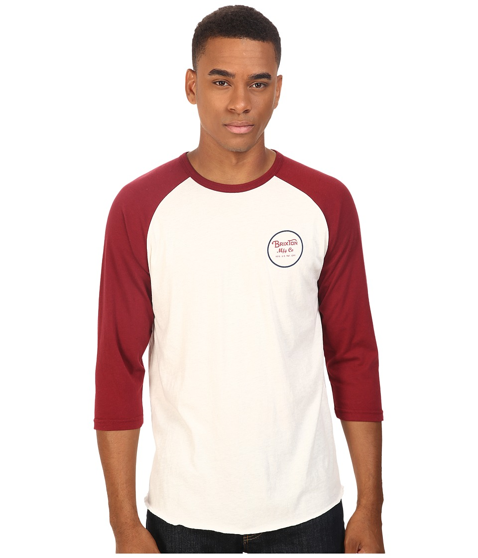 Brixton - Wheeler 3/4 Sleeve Tee (White/Cardinal) Men's Long Sleeve Pullover