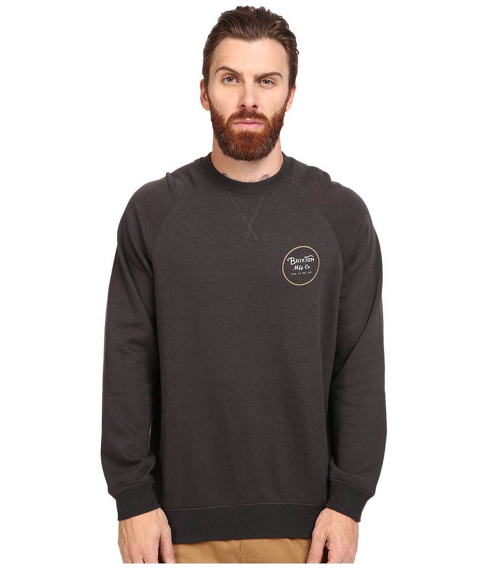 Brixton - Wheeler Crew Fleece (Washed Black) Men's Sweatshirt