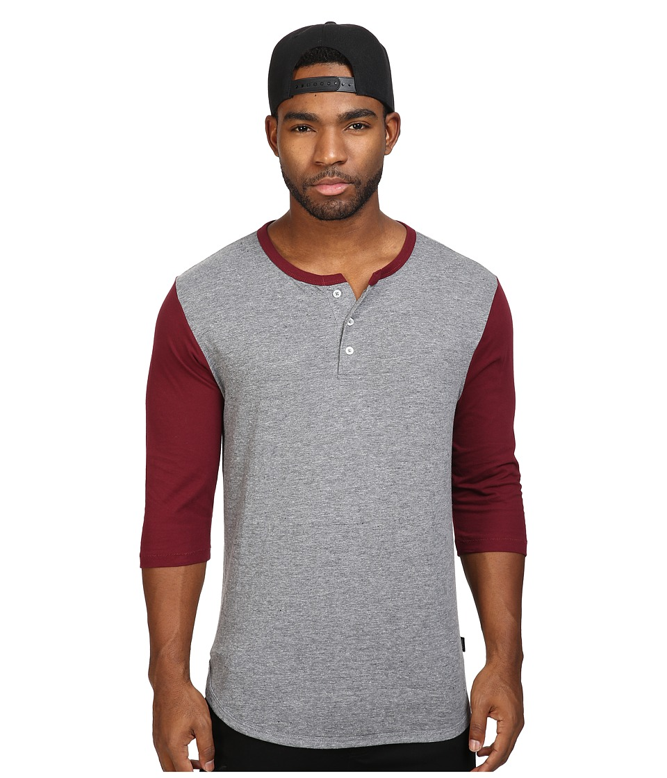 Brixton - Adam 3/4 Henley (Heather Grey/Maroon) Men's Long Sleeve Pullover
