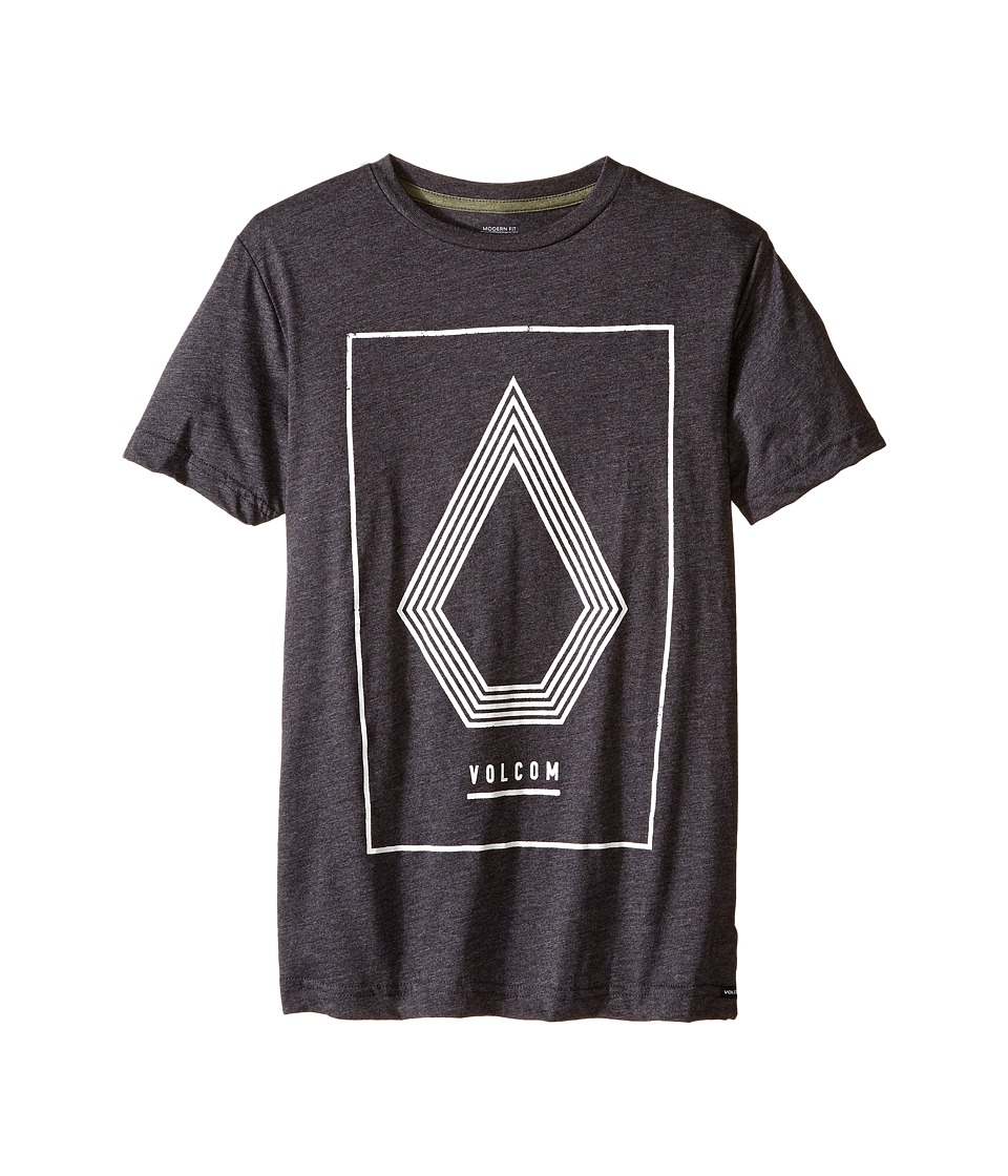 Volcom Kids - Line Art Short Sleeve Tee (Big Kids) (Heather Black) Boy's T Shirt