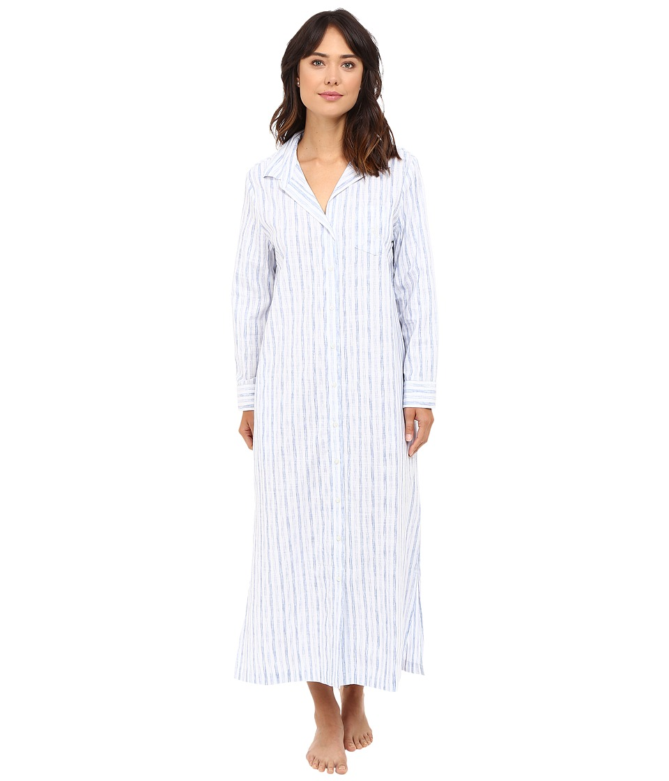 LAUREN Ralph Lauren - Woven Maxi Long Sleepshirt (Blue Stripe) Women's Pajama