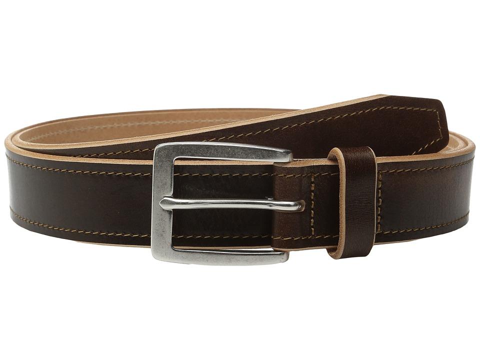 Johnston & Murphy - Raw Edge Single Stitch (Brown) Men's Belts
