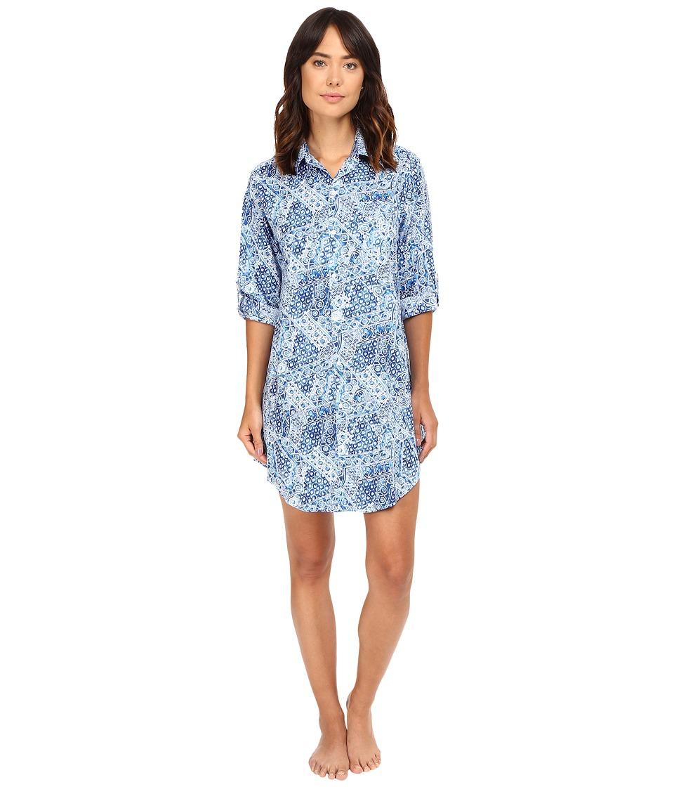 LAUREN Ralph Lauren - Woven 3/4 Roll Sleeve Sleepshirt (Geo Print) Women's Pajama
