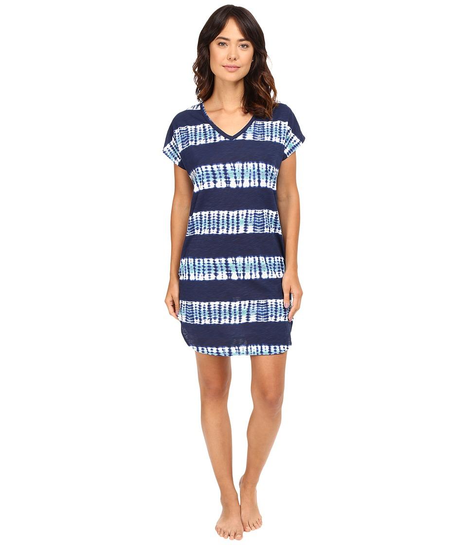LAUREN Ralph Lauren - Short Sleeve Gown (Tie-Dye Stripe) Women's Pajama