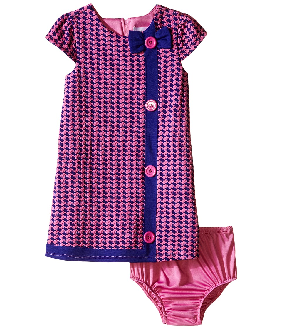 Us Angels - Houndstooth Cap Sleeve A-Line Dress (Infant) (Purple) Girl's Dress