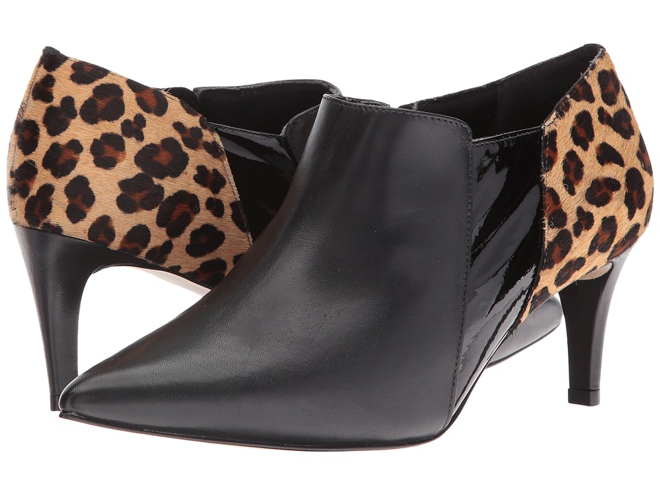 Walking Cradles - Smart (Black Leather/Patent/Leopard Haircalf) Women's Shoes