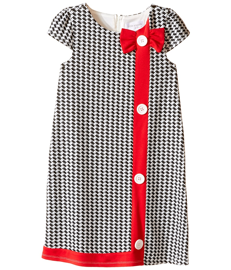 Us Angels - Houndstooth Cap Sleeve A-Line Dress (Little Kids) (Black/White) Girl's Dress