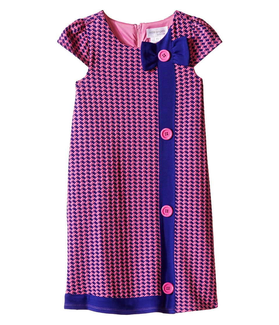 Us Angels - Houndstooth Cap Sleeve A-Line Dress (Little Kids) (Purple) Girl's Dress