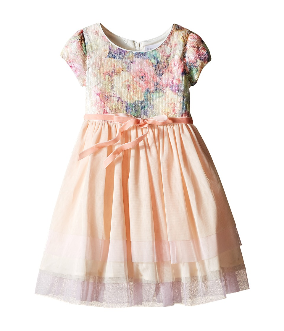 Us Angels - Printed Sequin Mesh Cap Sleeve Dress w/ Tulle Skirt (Little Kids) (Multi) Girl's Dress