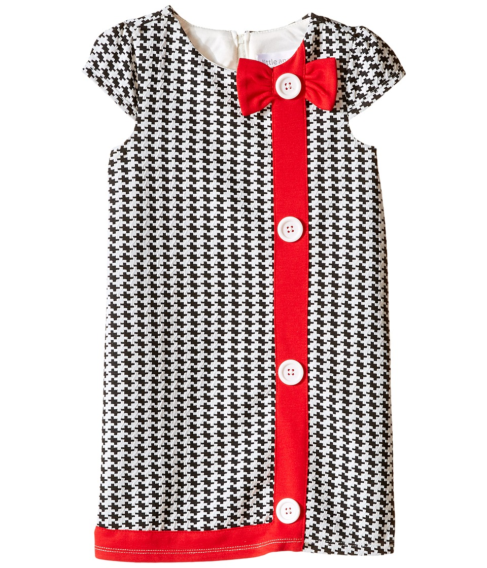 Us Angels - Houndstooth Cap Sleeve A-Line Dress (Toddler) (Black/White) Girl's Dress