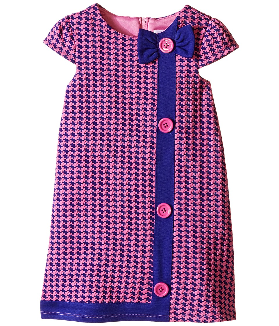 Us Angels - Houndstooth Cap Sleeve A-Line Dress (Toddler) (Purple) Girl's Dress