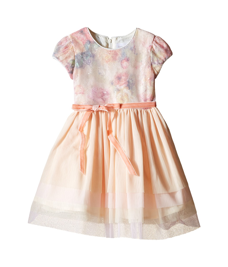 Us Angels - Printed Sequin Mesh Cap Sleeve Dress w/ Tulle Skirt (Toddler) (Multi) Girl's Dress