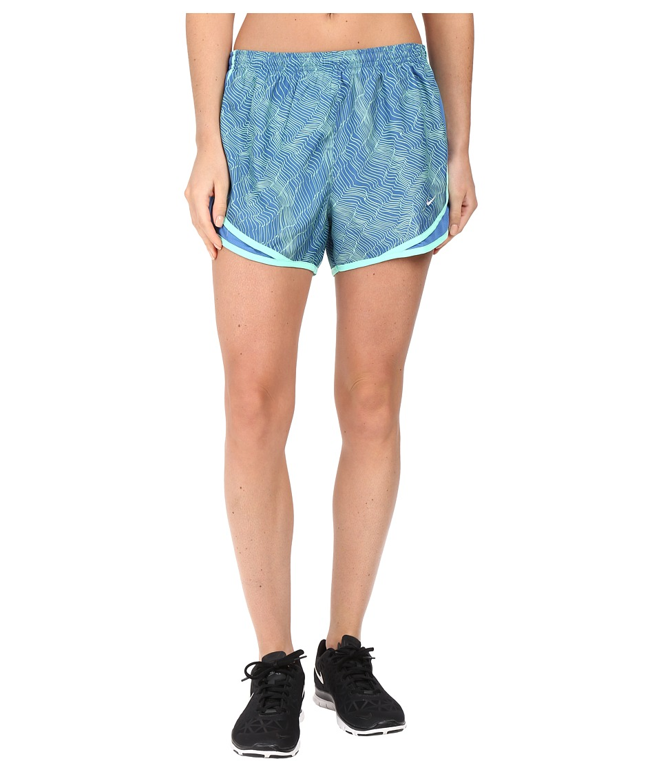 Nike - Dry Tempo Print Running Short (Star Blue/Star Blue/Green Glow/Wolf Grey) Women's Shorts