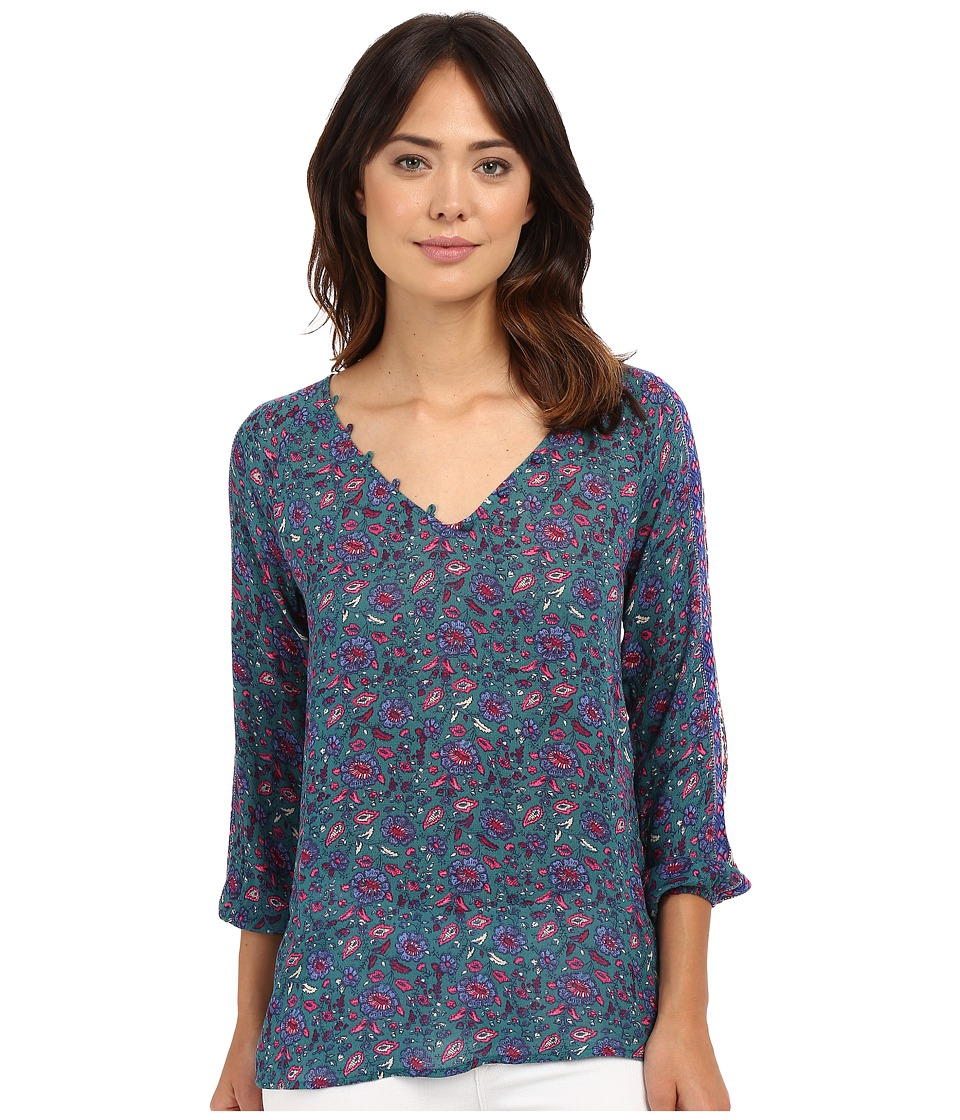 Lucky Brand - Road Map Printed Blouse (Turquoise Multi) Women's Blouse
