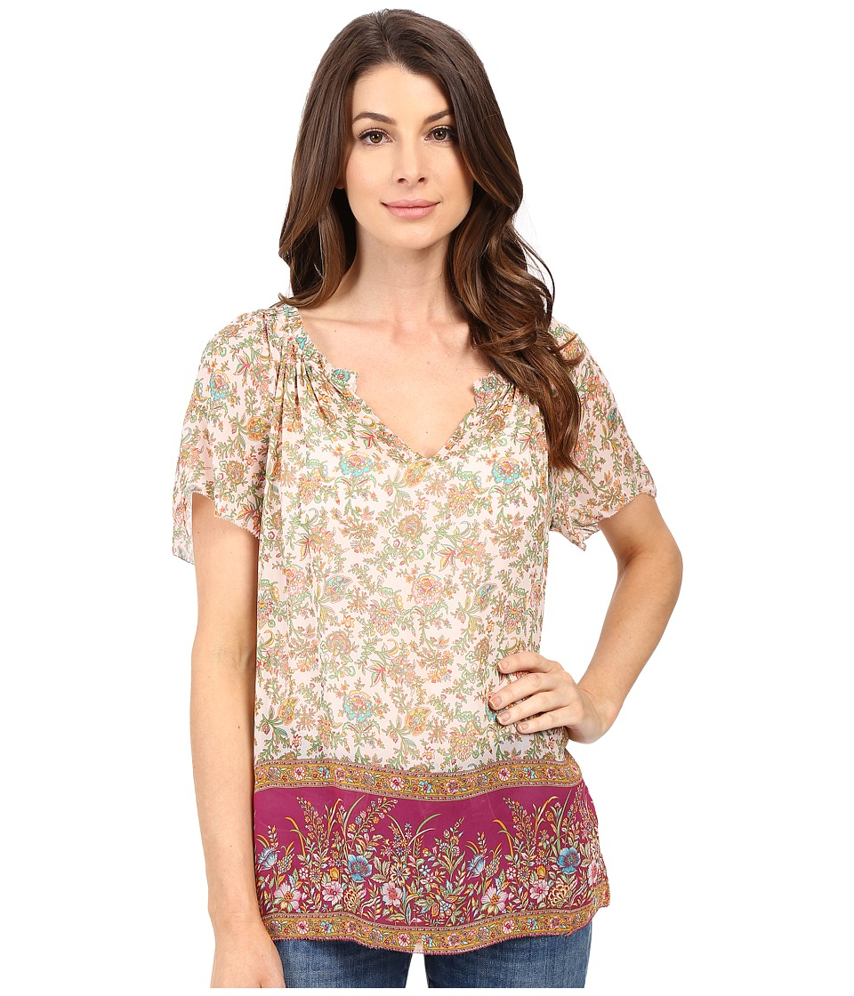 Lucky Brand - Floral Border Blouse (Pink Multi) Women's Blouse