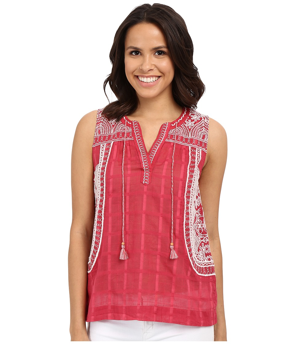 Lucky Brand - Embroidered Blouse (Red Multi) Women's Blouse