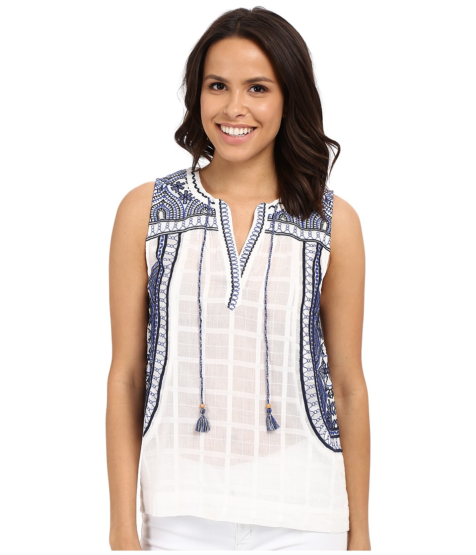 Lucky Brand - Embroidered Blouse (Blue Multi) Women's Blouse