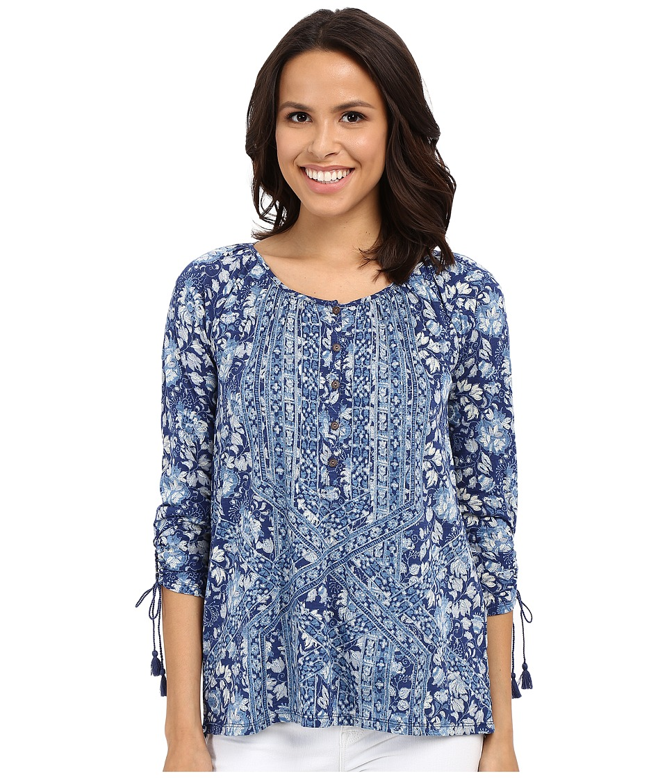 Lucky Brand - Tie Sleeve Henley Blouse (Blue Multi) Women's Blouse