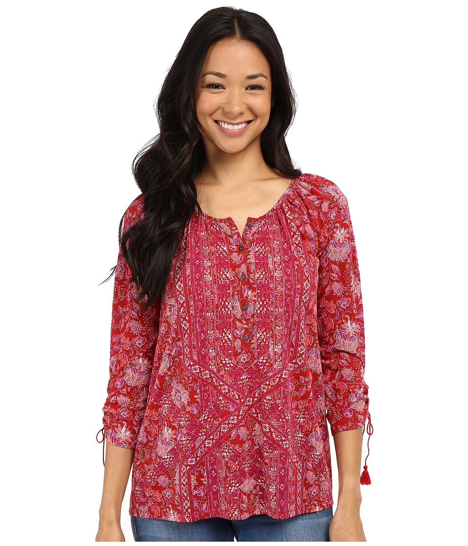 Lucky Brand - Tie Sleeve Henley Blouse (Red Multi) Women's Blouse