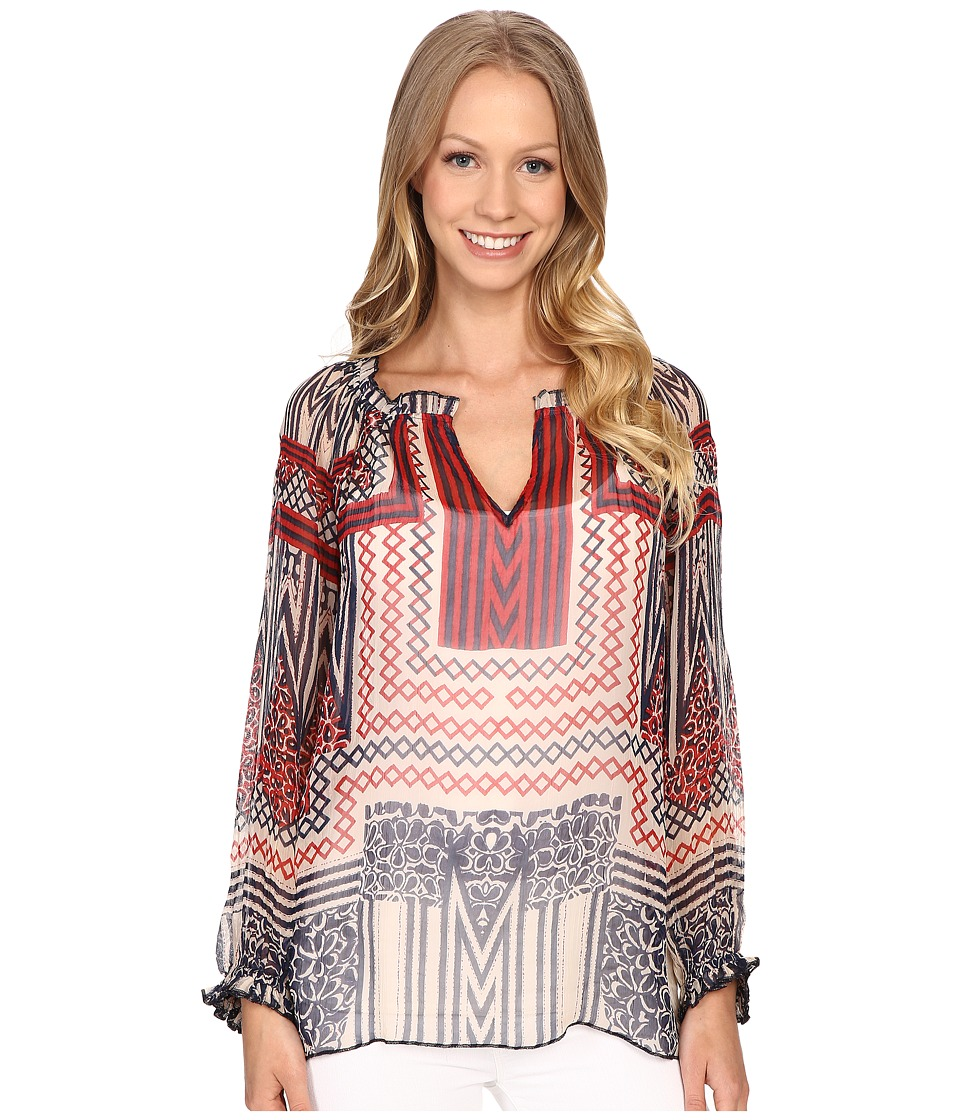 Lucky Brand - Ethnic Printed Blouse (Navy Multi) Women's Blouse plus size,  plus size fashion plus size appare