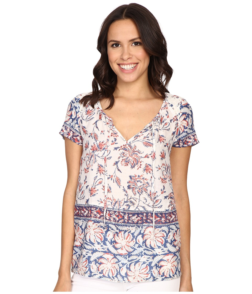 Lucky Brand - Printed Border Blouse (Natural Multi) Women's Blouse