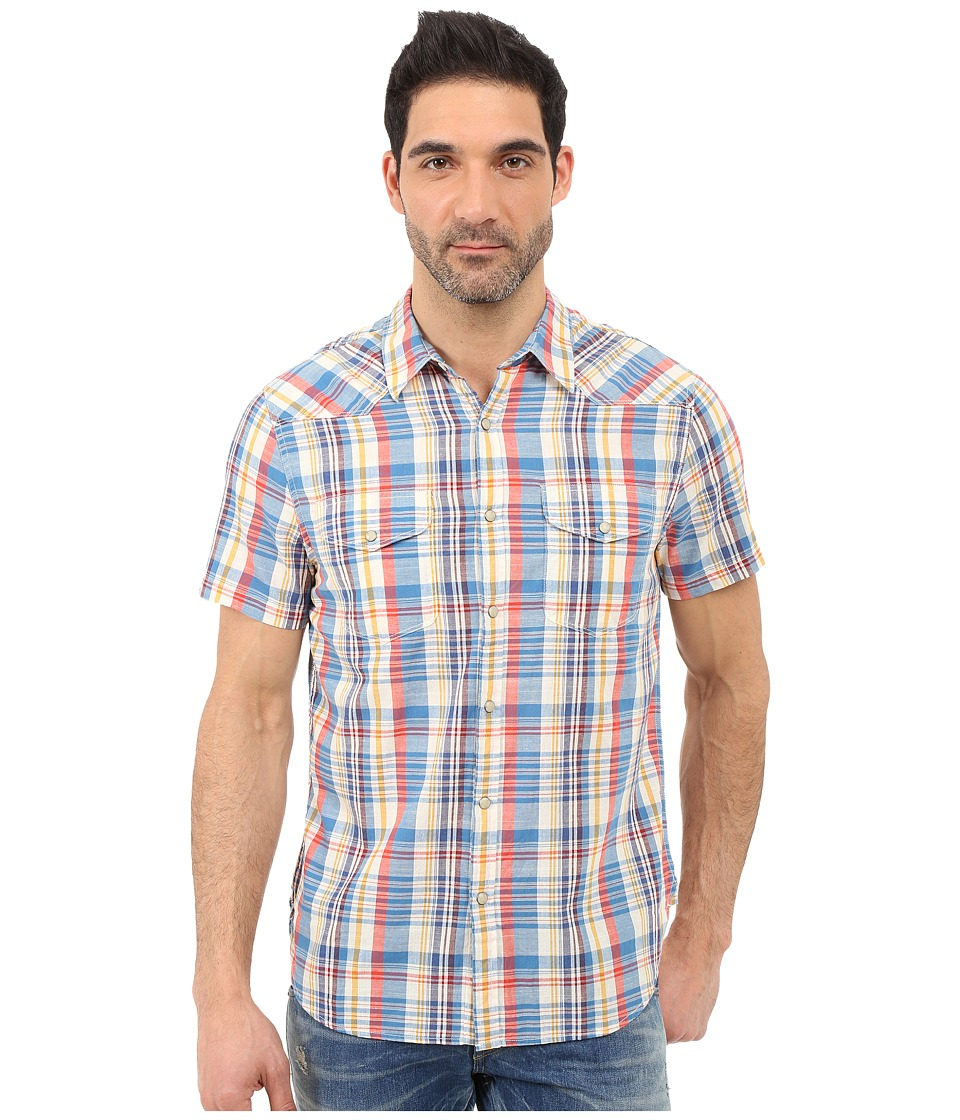 Lucky Brand - Jesse Western Shirt (Orange/Blue) Men's Short Sleeve Button Up
