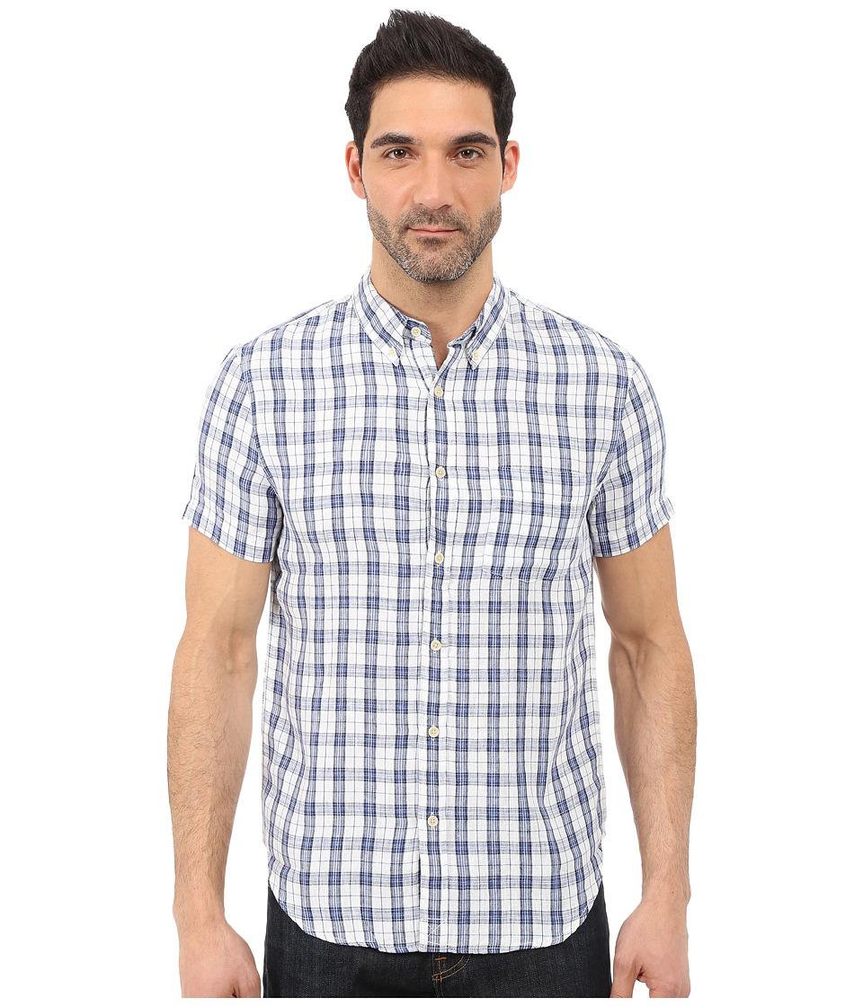 Lucky Brand - Willow Ballona Shirt (White/Blue) Men's Short Sleeve Button Up