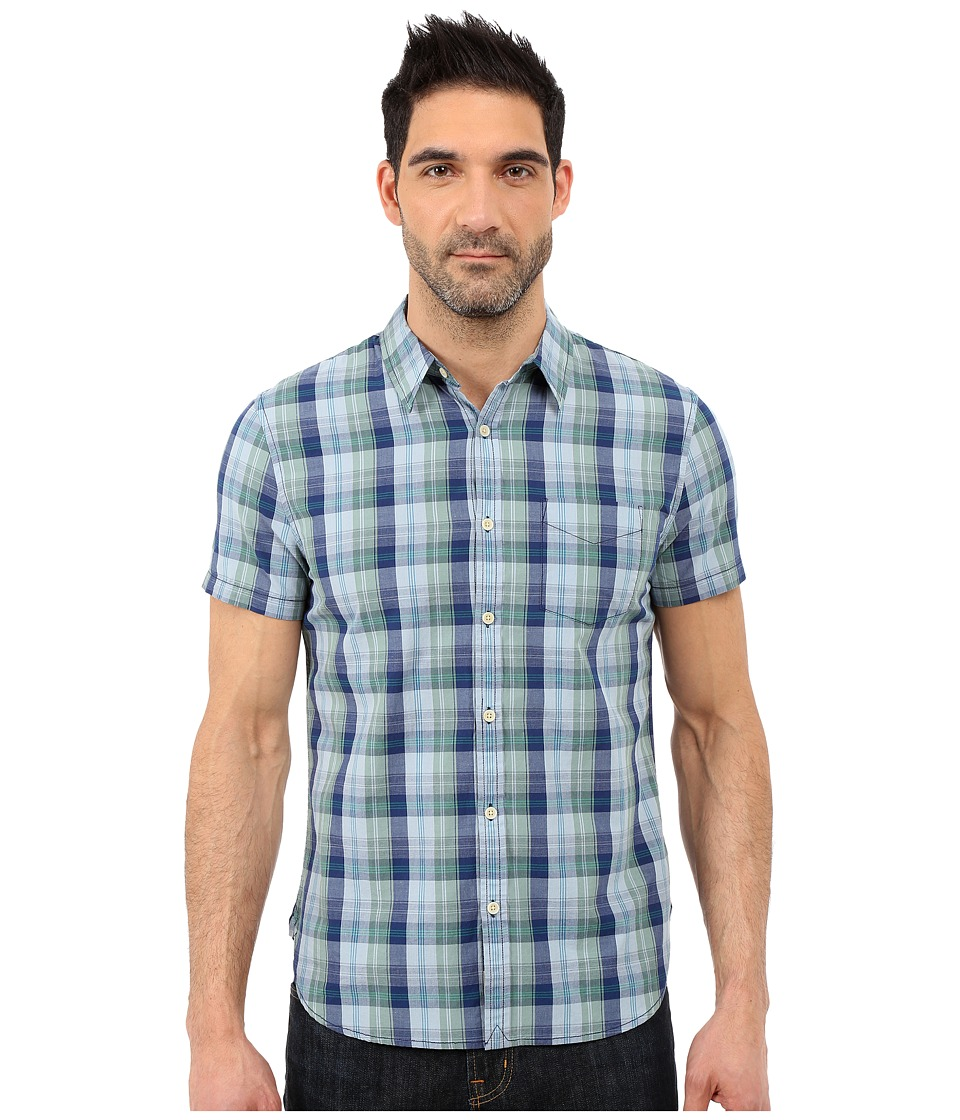 Lucky Brand - Smart Military Plaid Shirt (Green/Blue) Men's Short Sleeve Button Up