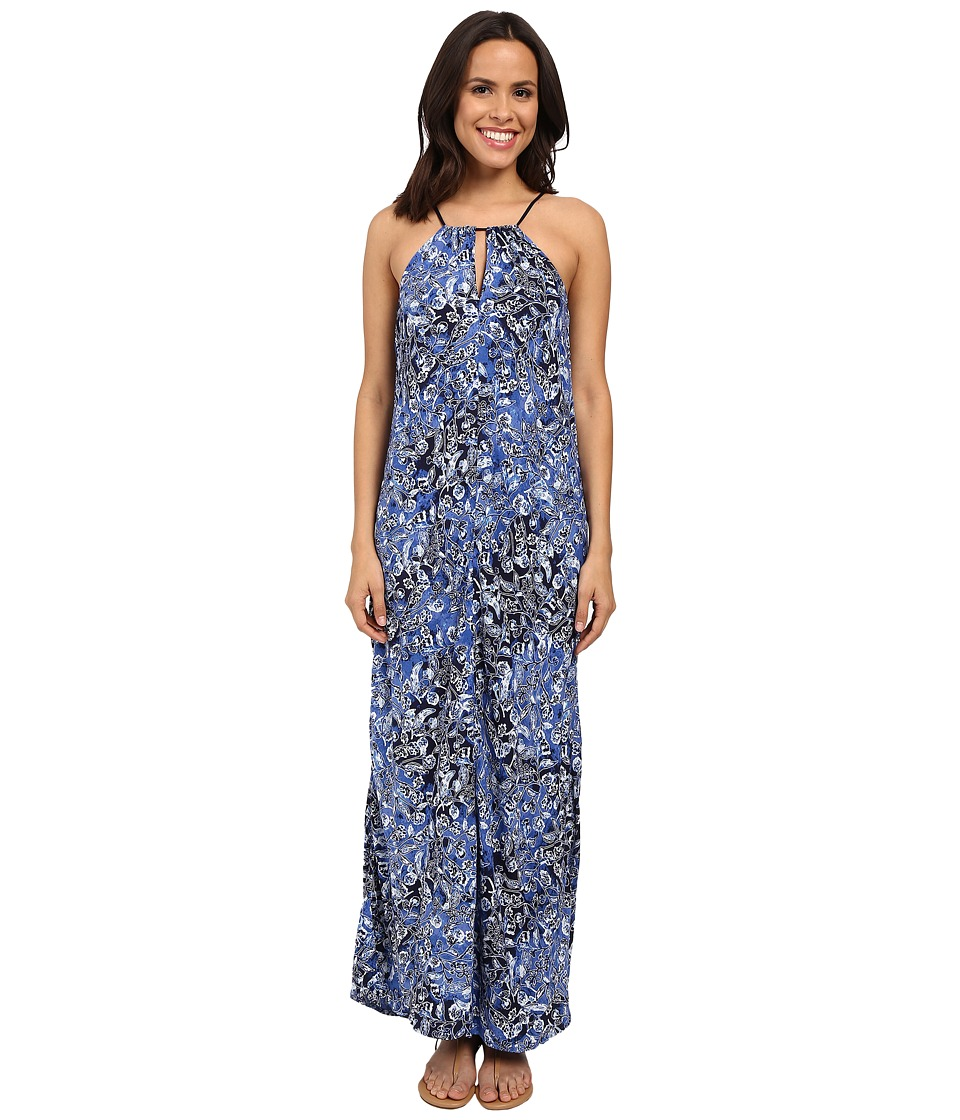 Lucky Brand - Indigo Floral Maxi Dress (Blue Multi) Women's Dress
