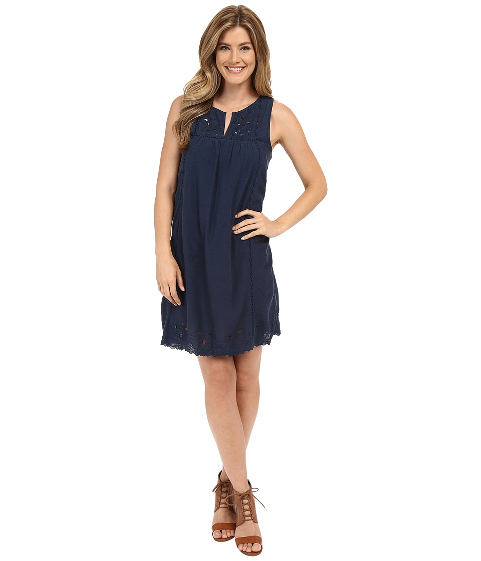 Lucky Brand - Embroidered Yoke Dress (Navy Blue) Women's Dress