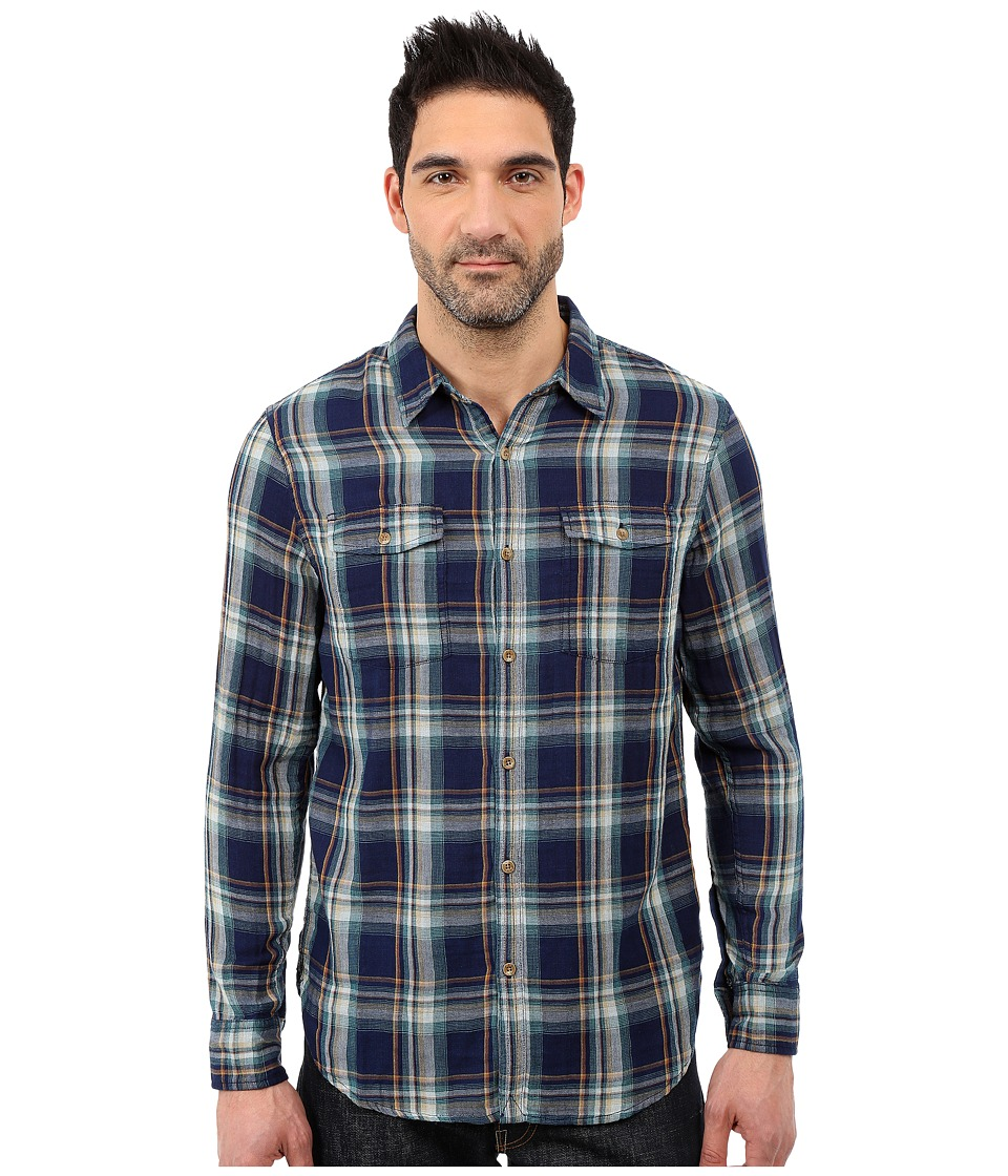 Lucky Brand - Double Weave Workshirt (Indigo/Yellow) Men's Long Sleeve Button Up