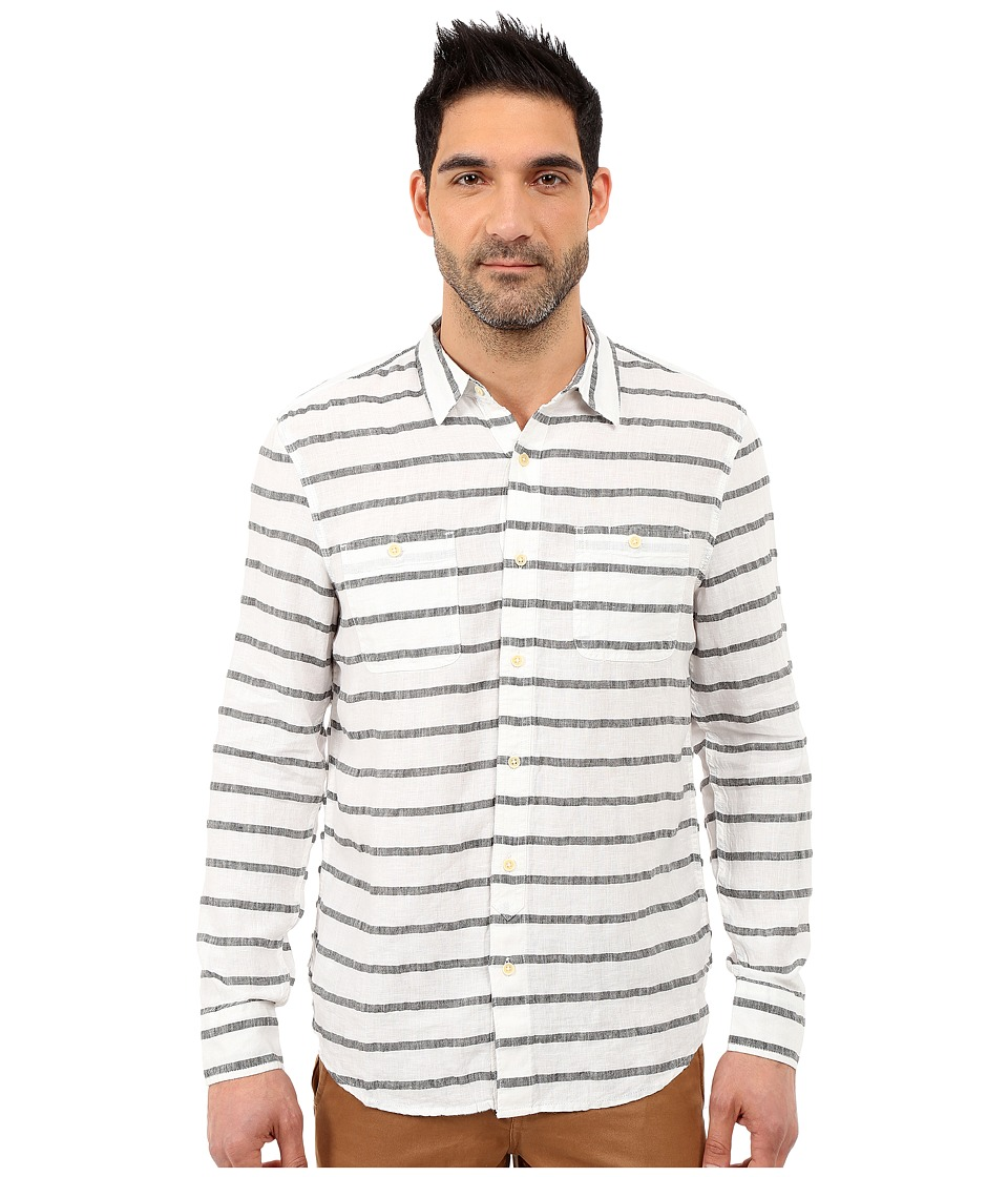 Lucky Brand - Striped Linen Shirt (Black/White) Men's Long Sleeve Button Up