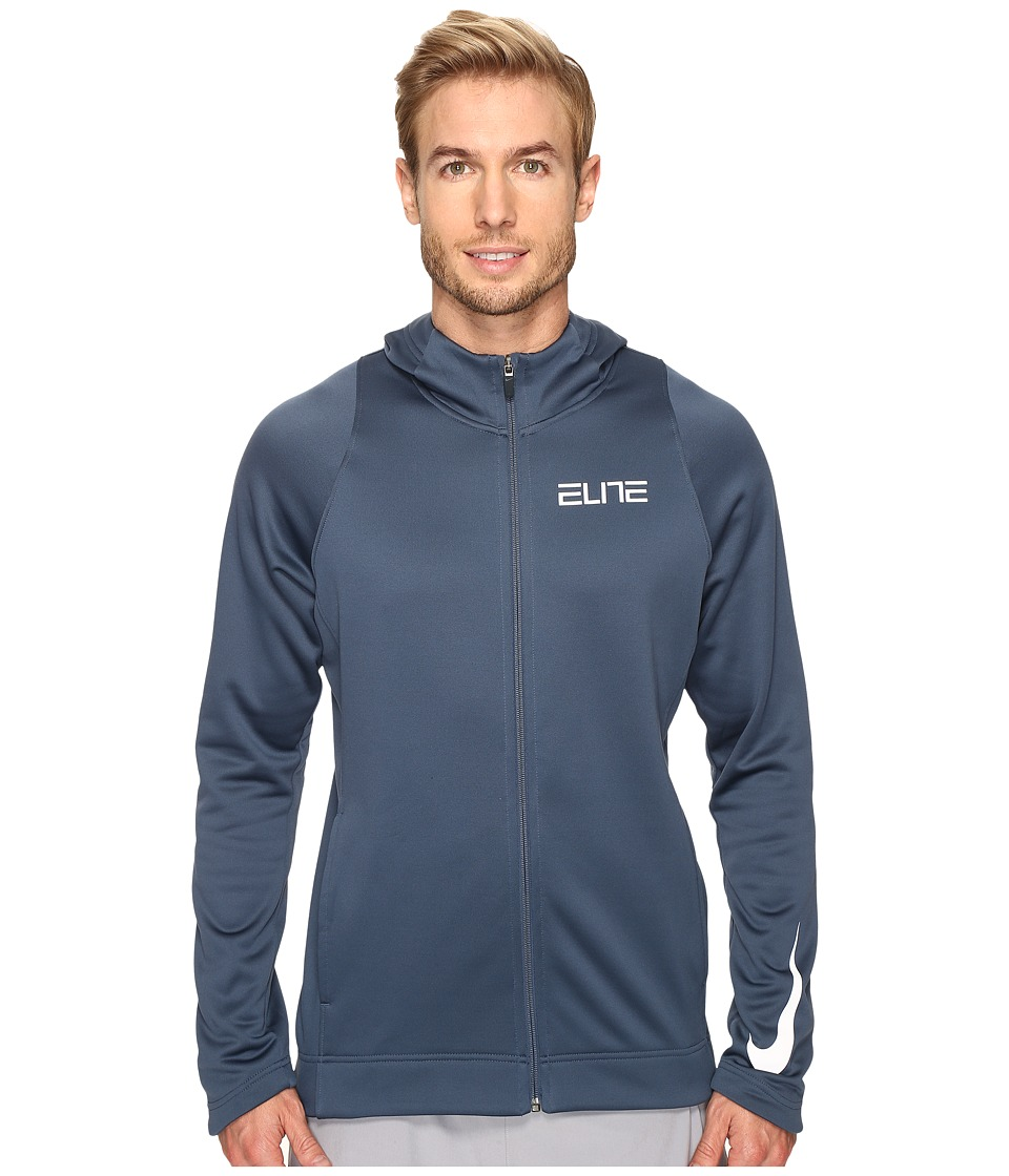 Nike - Therma Elite Full-Zip Basketball Hoodie (Squadron Blue/Squadron Blue/White) Men's Sweatshirt