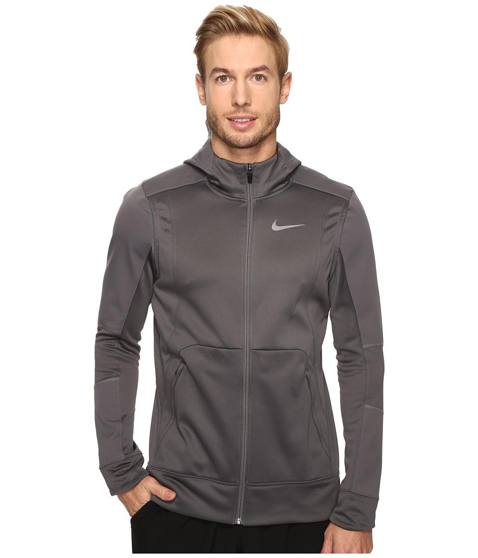 Nike - Therma Hyper Elite Basketball Hoodie (Dark Grey/Green Glow/Iridescent) Men's Sweatshirt