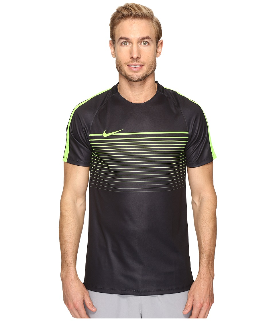 Nike - Dry Squad Short Sleeve Soccer Top (Black/Electric Green/Electric Green) Men's Clothing