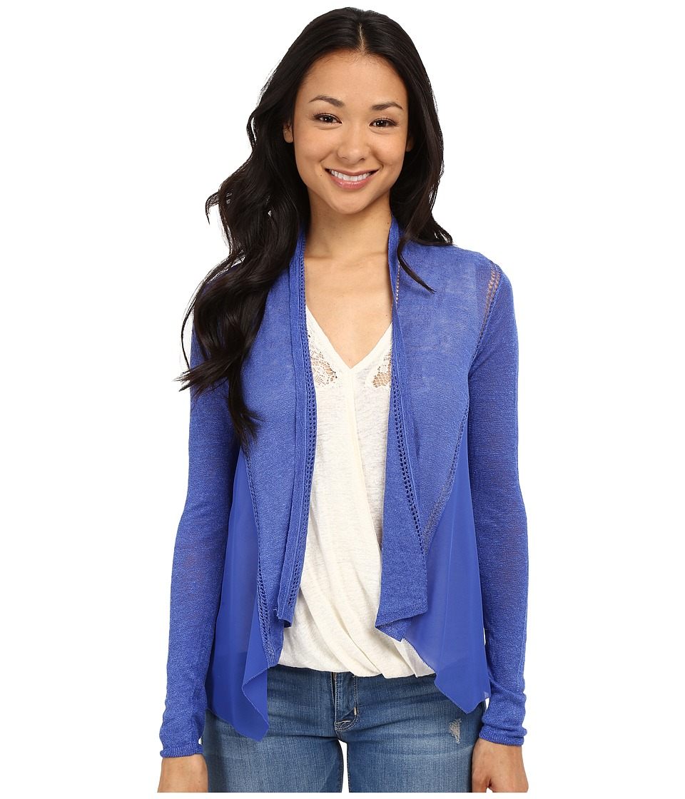 Lucky Brand - Woven Mixed Cardigan (Dazzling Blue) Women's Sweater