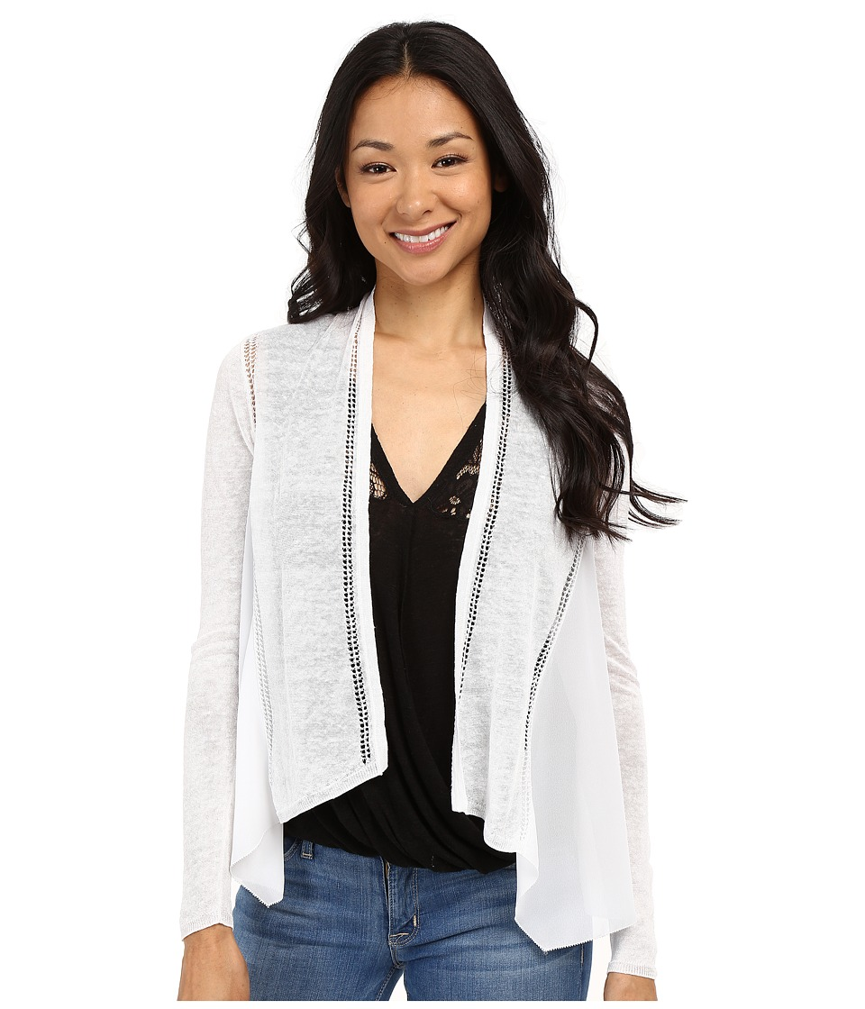 Lucky Brand - Woven Mixed Cardigan (Lucky White) Women's Sweater