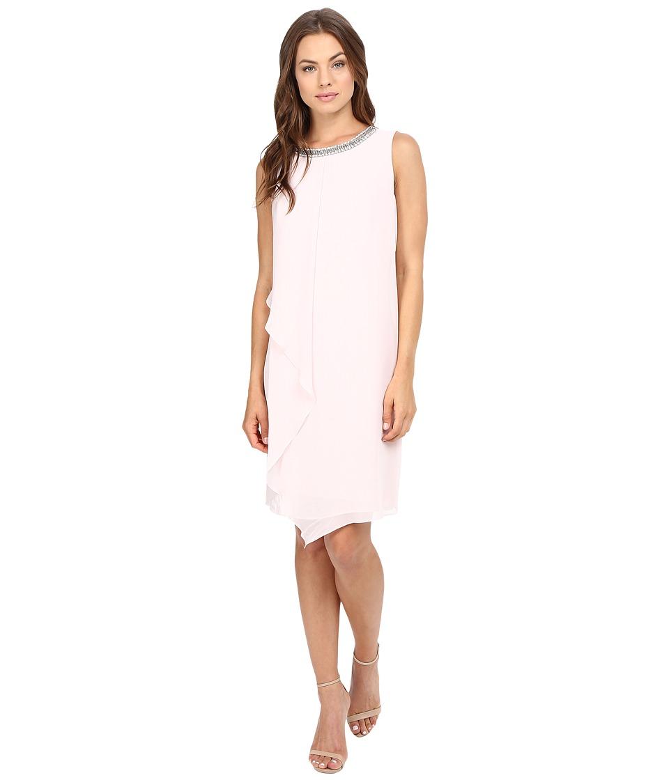 Christin Michaels Jenna Jewel Neck Shift Dress (Petal Pink) Women